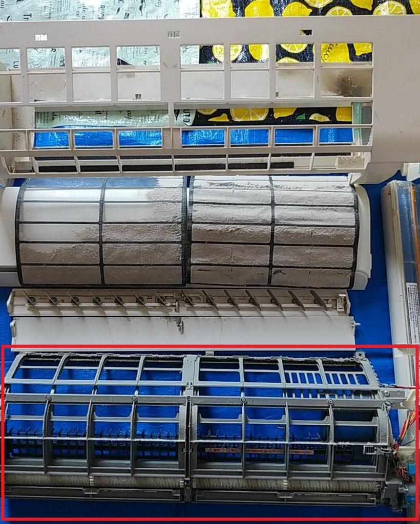 埼玉県川口市のエアコンクリーニング、エアコン掃除、お掃除ユニット分解後